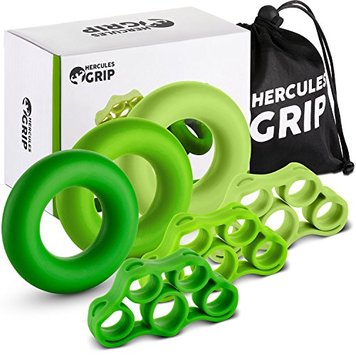 HerculesGrip Hand Grip Strengthener Forearm Workout Kit – 6 Pack -Grip Ring & Finger Stretcher -3 Resistance Levels – Easy, Medium, Heavy – Increase Strength, Improve Dexterity & Speed Up Recovery