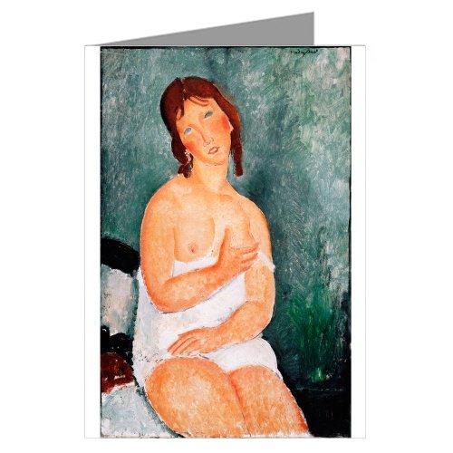 Price comparison product image Single Amedeo Modigliani Fine Art Painting Titled Junge Frau im Hemd 1918 Greeting Card