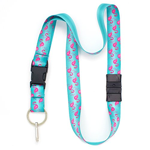 Buttonsmith Flamingos Premium Breakaway Lanyard - Safety Breakaway, Buckle and Flat Ring - Made in USA by Buttonsmith