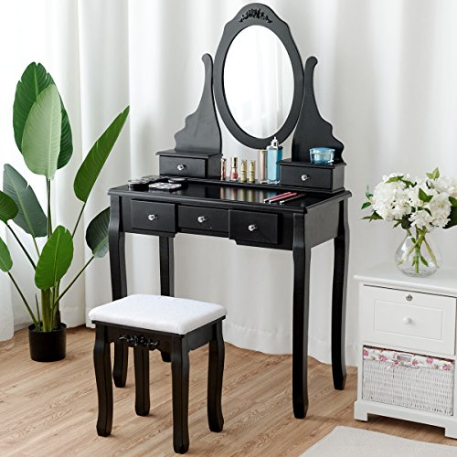 Giantex Black Vanity Set with Mirror & Cushioned Stool Dressing Table Large Storage Removable Top Stand 360° Swivel Mirrored Bedroom Vanities Makeup Table with 5 Drawers