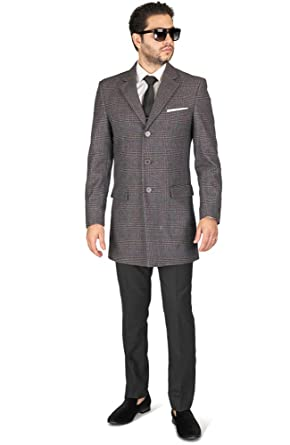 a086093fc866 Azar Slim Fit Mens Wool Blend Top Overcoat Single Breast Notch Lapel  (X-Small