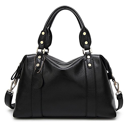 Mn&Sue Spacious Women Boston Pillow Bag Pebbled PU Leather Hobo Handbag Roomy Shoulder Satchel (Black)