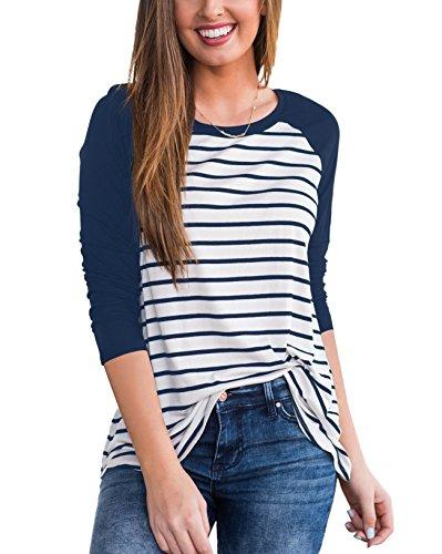 ZZER Women 3/4 Raglan Sleeve Striped Crew Neck Tunic Shirt Blouses Tops(Navy Blue,M)