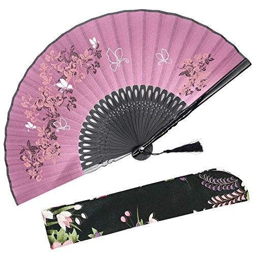 OMyTea Hand Held Folding Fan for Women Leaf Butterfly Chinese Japanese Oriental Asian Style - for Wedding, Dancing, Church, Party, Gifts (Red) -