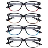 Reading Glasses 4 Pack Quality Spring Hinge Stylish Designed Men and Womens Glasses