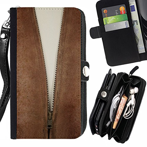 GOD CASE FOR SAMSUNG GALAXY S5 MINI Cleavage Zipper Wallet Purse Pouch Holster Leater & Soft TPU - Cleavage Mini