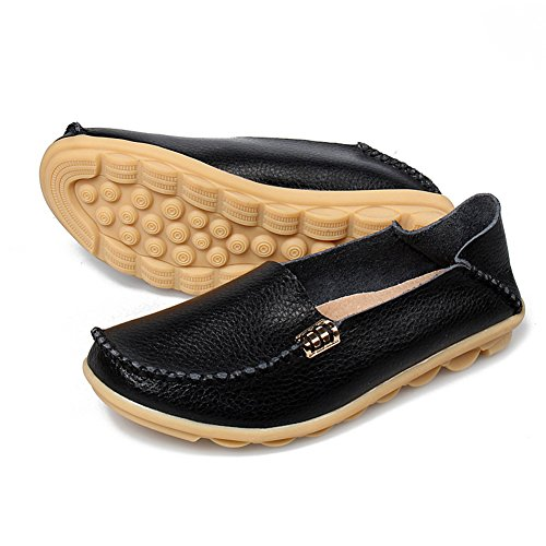 SCIEU Women's Leather Loafers Casual Walking Slippers Driving Moccasins Slip-On Flat Shoes Black 4Eupkh9