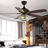 Black Ceiling Fan with Light Crystal Chandeliers