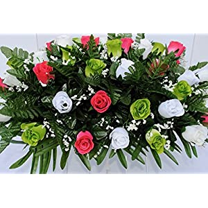 Spring Cemetery Flowers for Headstone and Grave Decoration-Pink Green and White Rose Mix Saddle 4