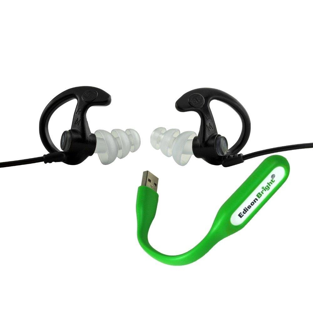 EdisonBright SureFire EP5 Sonic Defenders Max Full-Block Earplugs, triple flanged design, reusable, Black, Medium bundle with USB powered flexible reading light by EdisonBright