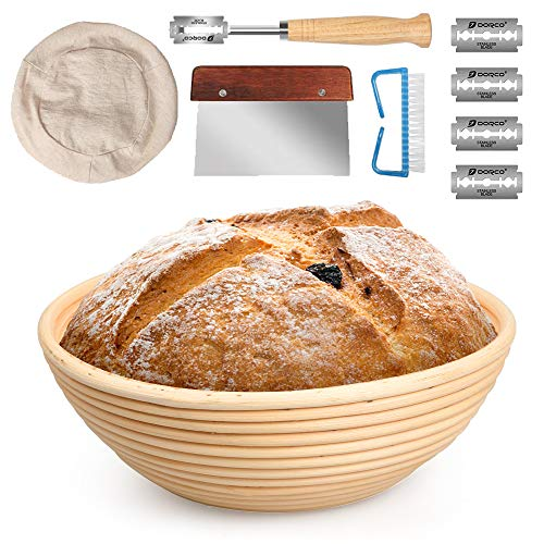 10 Inch Banneton Bread Proofing Basket Set with Dough Bowl, Stainless Steel Scraper, Bread Lame, Liner and Cleaning Brush - FIDECO Kitchen Bread Tools Dough Gifts for Professional & Home Bread Bakers (Ideas Tool Basket Gift)