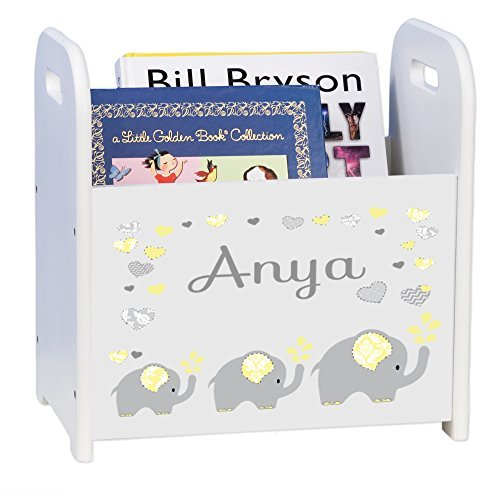 MyBambino Personalized Yellow Elephants White Book Caddy and Rack