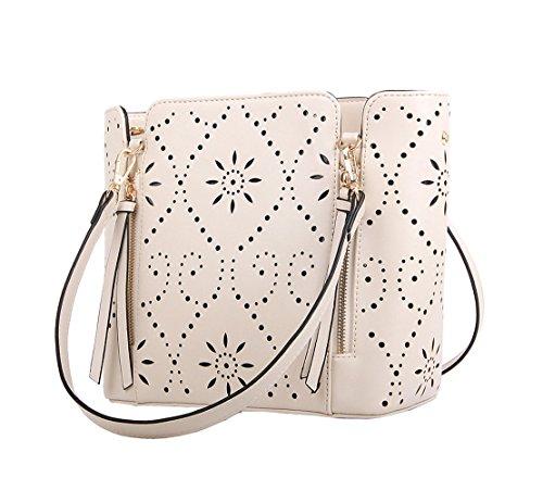 Top Shop Womens Bucket Minaudiere Tassel Totes Shoulder Messenger Bags Handbags Beige Hobos