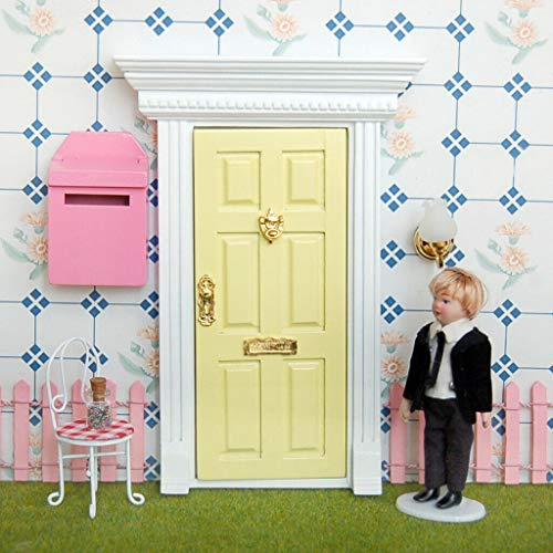 NATFUR 1:12th Scale Dollhouse Fairy Garden Wood Exterior Door 6 Panel w Key Yellow