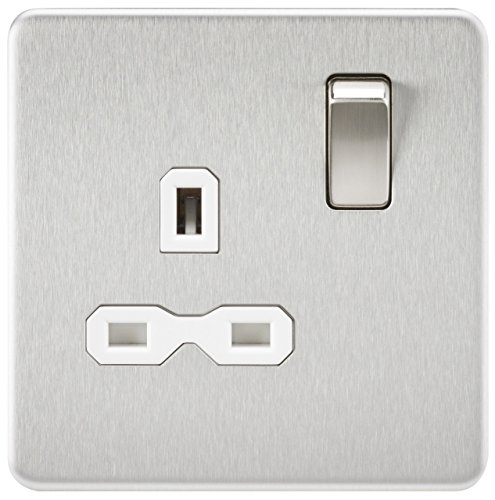 Knightsbridge SFR7000BCW Screwless 13A 1G Dp Switched Socket-Brushed Chrome with White Insert, ()