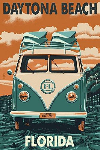 Daytona Beach, Florida - Camper Van Letterpress (9x12 Art Print, Wall Decor Travel Poster)