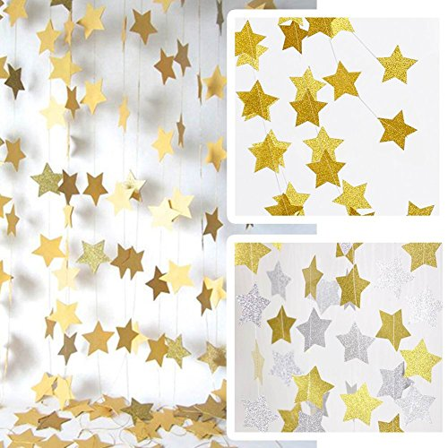 JINZAN 2PCS Sparkling Gold Star Garland for Party Decorations Baby Shower (4 inch in Diameter,13 Feet) (gold) (Sparkling Garland)