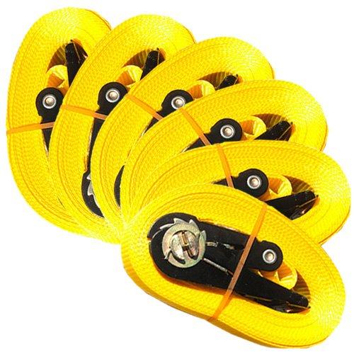 MGS Shop Lot de 6 sangles d'arrimage à cliquet type EN12195-2 pour charges de 0,8 t maximum 6 m, jaune MGS SHOP®
