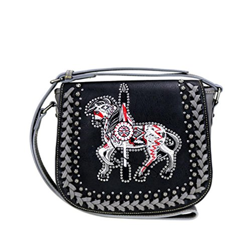 The Trail Of Painted Ponies Collection Crossbody Messenger Saddle Bag (Black)