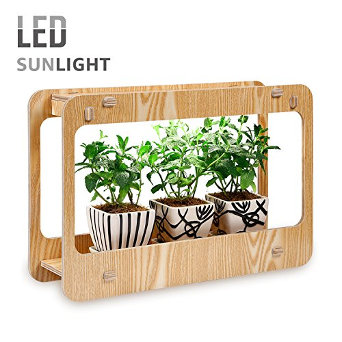 Pot Grow Lights - TORCHSTAR Plant Grow LED Light Kit, Indoor Herb Garden Light with Smart Timer Function, CRI 95+, Various Plants, DIY Decoration for Home Kitchen, Office, Apartment, 2 Years Warranty - Wood Grain