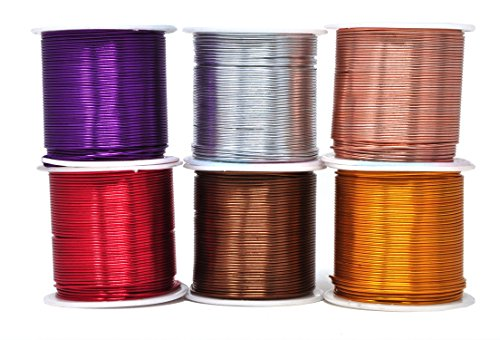 Chainmail Wire - Mandala Crafts Anodized Aluminum Wire for Sculpting, Armature, Jewelry Making, Gem Metal Wrap, Garden, Colored and Soft, Assorted 6 Rolls (18 Gauge, Combo 6)