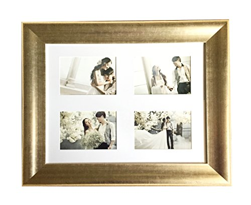 Lilian 16x20Inch-4 OP Antique gold Collage Picture Frame - Made to Display four 5x7 Inch Portrait Pictures - Wall Mounting Material Included, Choose PS Polymer Material Environmental ()
