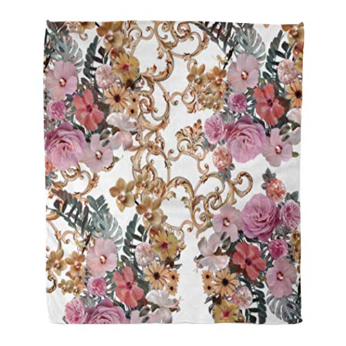 Golee Throw Blanket Pattern Flowers and Golden Baroque Rose Luxury Painting Retro Antique 50x60 Inches Warm Fuzzy Soft Blanket for Bed Sofa - Baroque Chain 50 Golden