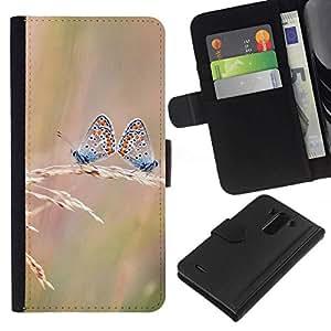 NEECELL GIFT forCITY // Billetera de cuero Caso Cubierta de protección Carcasa / Leather Wallet Case for LG G3 // Butterfly Dual