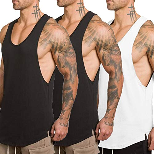 ZUEVI Men's Muscular Cut Open Sides Tank Tops Bodybuilding T-Shirts 3 Pack(Black&Black&White-XL) (Low Cut Tank Top)