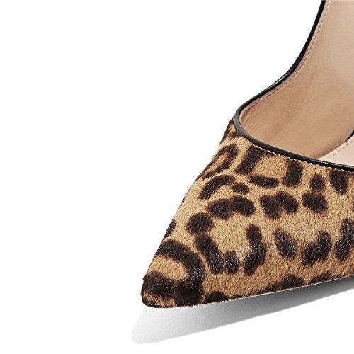 Fsj Kvinder Elegante Spidse Tå Pumps Højhælede Stiletter Glide På Formelle Kjole Sko Størrelse 4-15 Os Leopard Ruskind 05CMAc