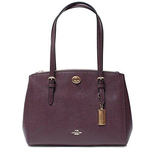 Coach Turnlock Caryall 29 Oxblood Burgundy Wine Handbag Bag Leather New