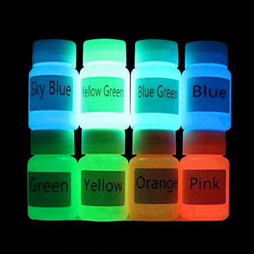 Glow in the dark paints Luminous paint(Set of 8 Bottles 0.6 oz. Each) Safe On Skin,Washable,Non-Toxic,For EDM Music Festivals,Outdoor,Slime,Fabric