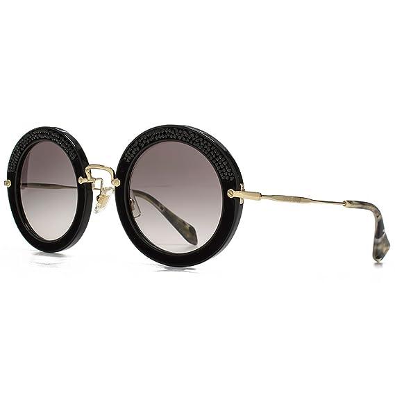 89679e4040 MIU MIU Crystal Rocks Round Sunglasses in Black Crystal   Suede MU 08RS  1AB0A7 49 49 Gradient Grey  Amazon.co.uk  Clothing
