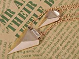 Alilang Golden Metal Tone Pyramid Shaped Twin Pendant Linked Chain Fashion Necklace