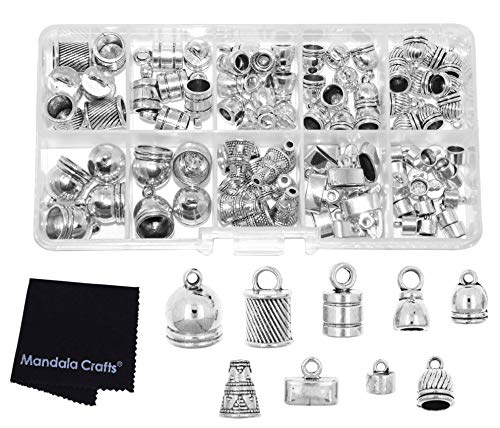 (Mandala Crafts Metal Glue in Barrel End Caps, Leather Cord Finding Kit for Kumihimo Jewelry and Tassel Making (Mixed Styles and Sizes Silver Tone))