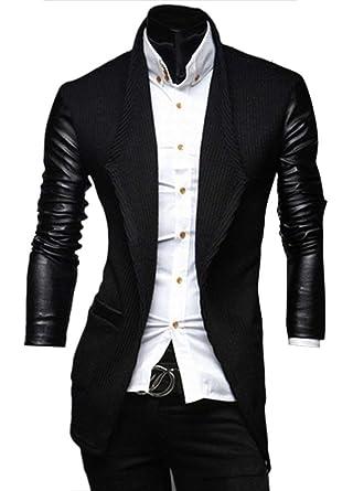 Herren Freizeit Anzugjacke Pu Leder Splice Anzug Blazer