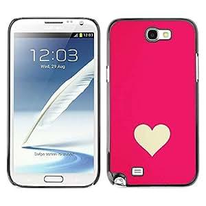 Paccase / SLIM PC / Aliminium Casa Carcasa Funda Case Cover - Minimalist Pink White Valentines - Samsung Note 2 N7100