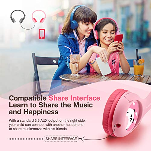Mpow Kids Headphones with 85dB Volume Limited Hearing Protection & Music Sharing Function, Kids Friendly Safe Food Grade Material, Tangle-Free Cord, Wired On-Ear Headphones for Children Toddler Baby by Mpow (Image #1)'