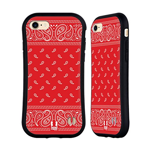 Head Case Designs Square Red Classic Paisley Bandana Hybrid Case for Apple iPhone 7 / iPhone 8 (Head Hybrid Square)