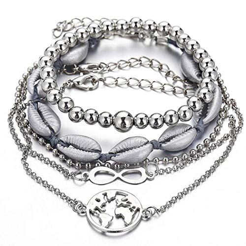 Brishow Sea Shell Bracelet Cross Beaded Earth Multilayer Bracelets Silver Chain Accessories Jewelry for Women and Girls 5PCS