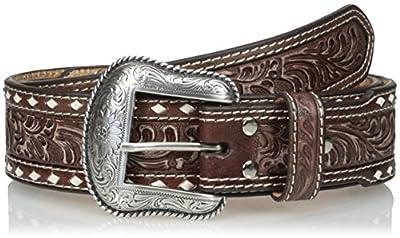Nocona Men's Brown Wide Cross Buckstitch Belt