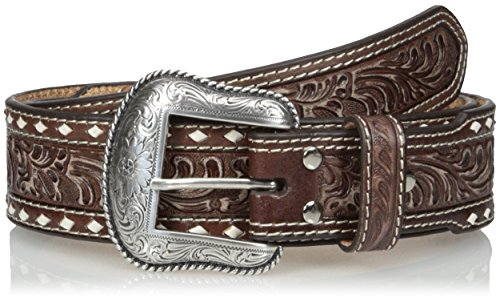 Nocona Men's Brown Wide Cross Buckstitch, - Belt Embossed Modern