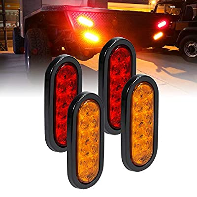 """2 Red + 2 Amber 6"""" Oval LED Trailer Tail Light Kit [DOT FMVSS 108] [Grommets & Plugs Included] [IP67 Waterproof] [Stop Turn Tail Park] Marine Trailer Brake Lights for Boat Trailer RV Truck: Automotive"""