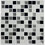 RoomMates Black and White Mosaic Stick Tiles, 10.5-Inch X 10.5-Inch