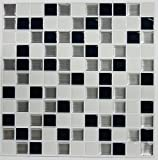 Kitchen Sink Backsplash RoomMates Black & White Mosaic StickTILES, 4-pack 10.5