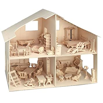 Donau Elektronik Wooden Dolls House Includes Furniture Flat Pack Plywood Self  Assembly Ideal Fairy House Unpainted