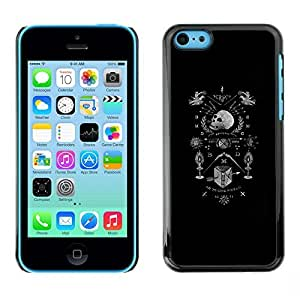 Colorful Printed Hard Protective Back Case Cover Shell Skin for Apple iPhone 5C ( Black White Coat Of Arms Skull Death )