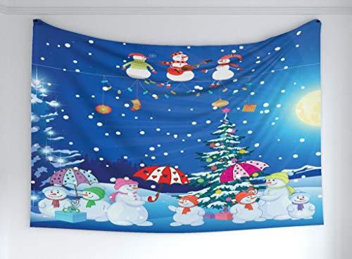 Ambesonne Christmas Tapestry, Festive Jolly Snowman Party Winter Happy Cartoon Nursery Kids Style Illustration, Fabric Wall Hanging Decor for Bedroom Living Room Dorm, 90 W X 60 L Inches, Multicolor (Snowman Wall Tapestry)