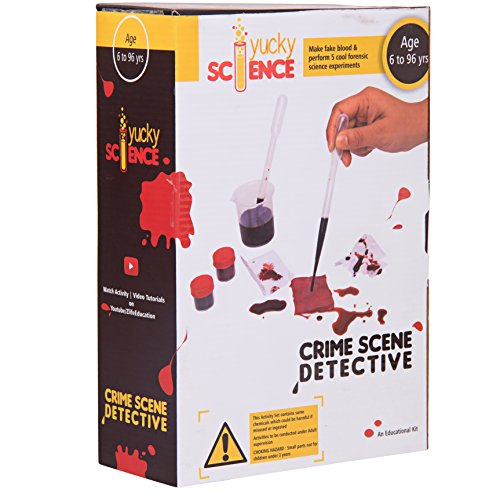 CRIME SCENE DETECTIVE kit by Yucky Science. Make FAKE BLOOD and conduct 5 Cool Forensic Science Activities and games to Solve the Crime Scene .SCIENCE EXPERIMENT KIT for Children 8 Years and Above