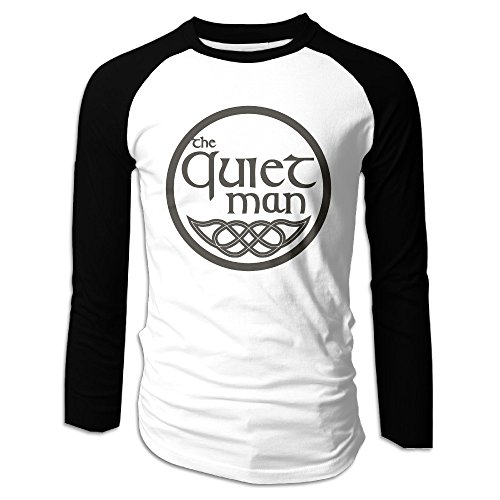 Creamfly Mens Quiet Man Logo Long Sleeve Raglan Baseball Tshirt M